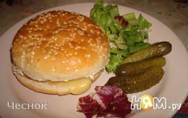 Гамбургер с грибами и белым вином