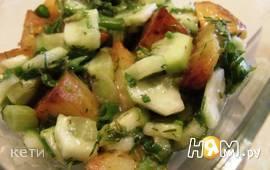 Горячий картофельный салат с острым соусом