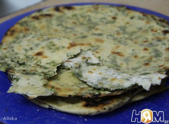 Рецепт Постные лепешки с зеленым луком