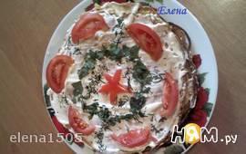 Закусочный  торт из  кильки  в  томате
