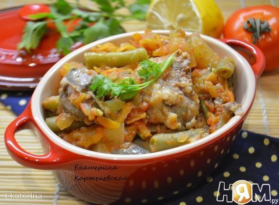 Куриная печень с овощами в кисло-сладком соусе