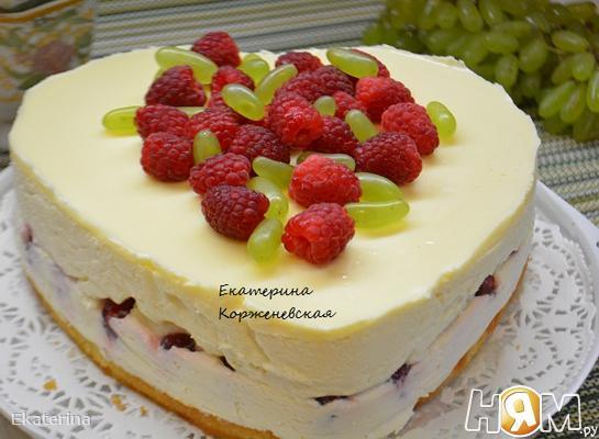 Рецепт Творожно-малиновый торт с белым шоколадом
