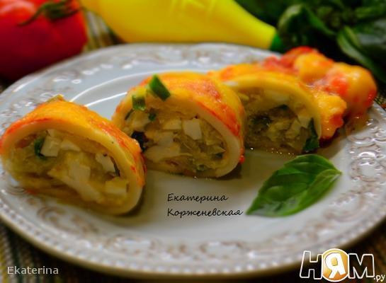 Рецепт Кальмары фаршированные капустой и яйцом