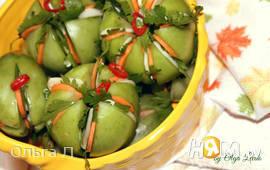 Зелёные острые маринованные помидоры
