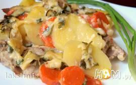 Морковно-картофельный гратин со свининой