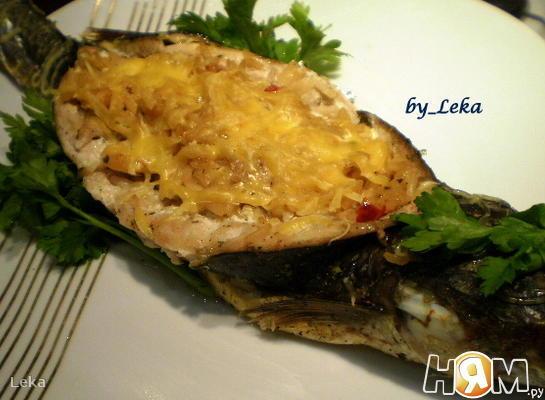 Пеленгас с морепродуктами и рисом