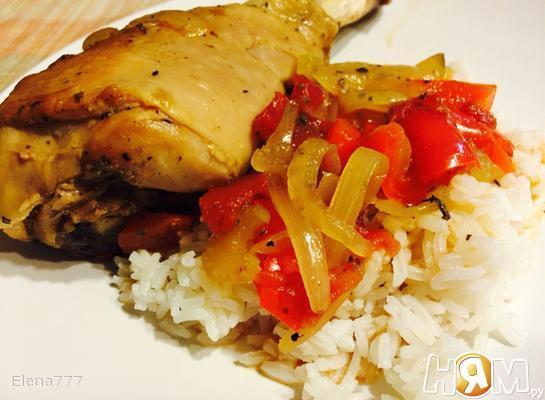 Голень индейки с овощами, тушеные в МВ
