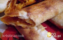 Тортильи запеченные с сыром и колбасой