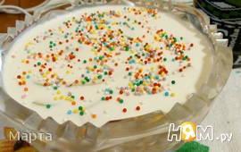 Десерт творожный с грушей