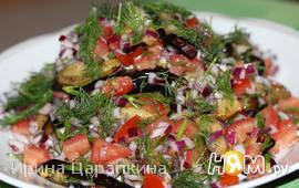 Острый салат  баклажанами