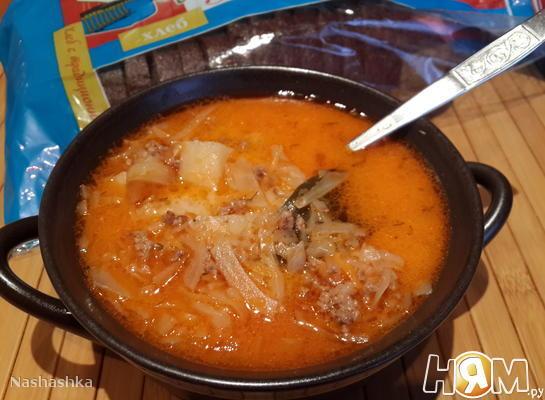 Сырный суп с капустой и фаршем