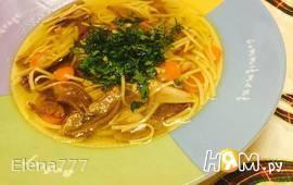 Суп-лапша с сухими лесными грибами