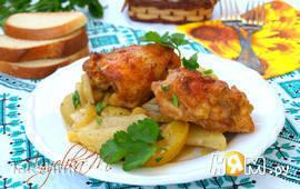 Куриные бёдрышки запечённые с картофелем
