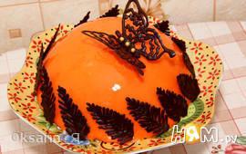 Апельсиновый муссовый торт с зеркальной глазурью