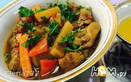 Баранина тушеная с овощами по-узбекски