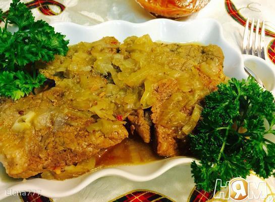 Тушеная говядина с луком