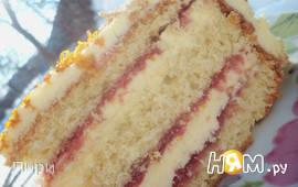 Бисквитный торт с масляным кремом на сгущёнке