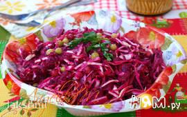 Салат из капусты, свеклы и горошка с говядиной