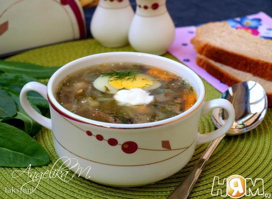 Суп со щавелем, капустой и шампиньонами