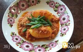 Картофель под мясной заливкой