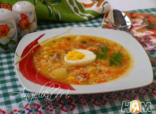 Пшенный суп с кукурузой