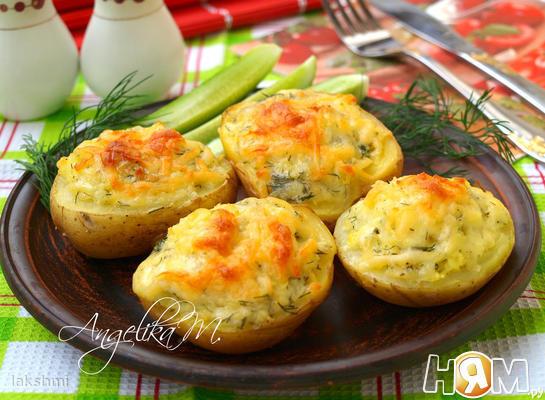 Картофель, фаршированный сыром сулугуни
