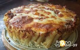 """Ригатонни""  пирог из макарон с мясом"