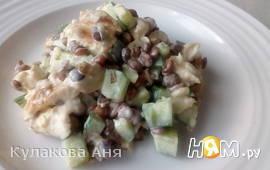 Салат с курицей и чечевицей