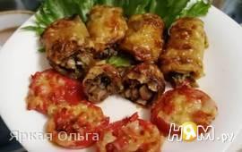 Баклажаны, фаршированные грибами, под сыром