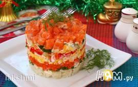 Слоёный салат с сёмгой