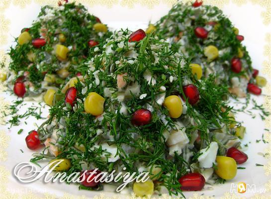 """Праздничный новогодний салат «Нарядные ёлочки"""""""