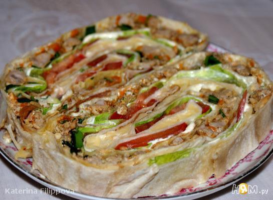 Рецепт Рулет из лаваша с мясным фаршем