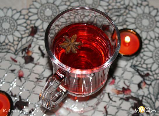 Рецепт Безалкогольный глинтвейн из каркаде