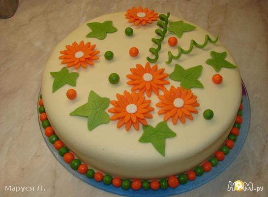 """Бисквитный торт """"Ромашки"""""""