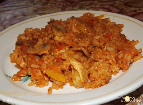 Рис с куриным филе и овощами