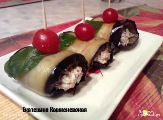 Рецепт Рулетики баклажановые с грецким орехом и шпротами