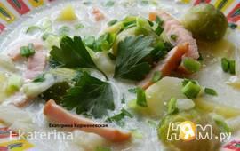 Суп с брюссельской капустой и копченым окороком