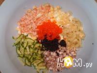 Приготовление салата из морепродуктов: шаг 1