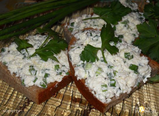 Бутербродная масса с сыром и зеленью