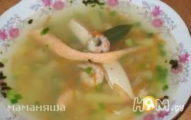 Суп из лосося с креветками