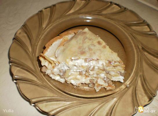 Рецепт Блинный торт с грибами