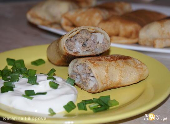 Рецепт Блины с мясом и рисом