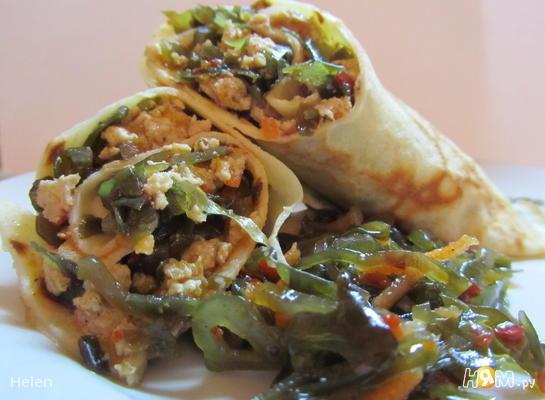 Рецепт Блины с мясом и морской капустой