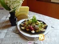 Приготовление салата нежного с сайрой: шаг 5