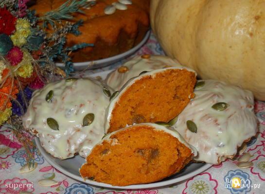 """Тыквенные кексы """"Солнышко""""  с изюмом и апельсином"""
