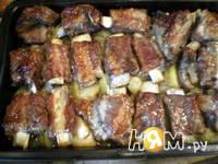 Приготовление свиных ребер с яблоками и медом: шаг 5