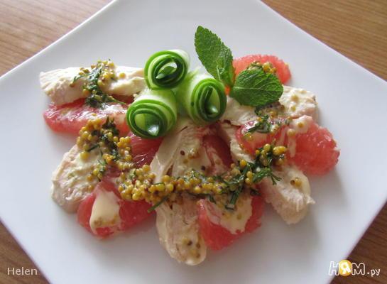 Рецепт Салат с куриной грудкой и грейпфрутом