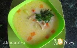 Сырный суп с соевым мясом