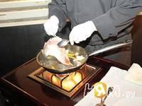 Приготовление морской рыбы фламбе с виски и грушей: шаг 9
