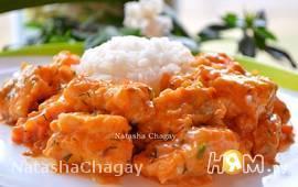 Пикша в томатно - сметанном соусе